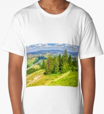 village on hillside meadow with forest in mountain Long T-Shirt
