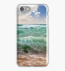 huge sea ​​waves running on sandy beach iPhone Case/Skin