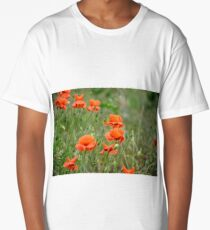 red poppy flowers among the grass Long T-Shirt
