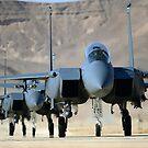 Eine Gruppe von F-15E Streik Eagles an Uvda Air Force Base, Israel. von StocktrekImages