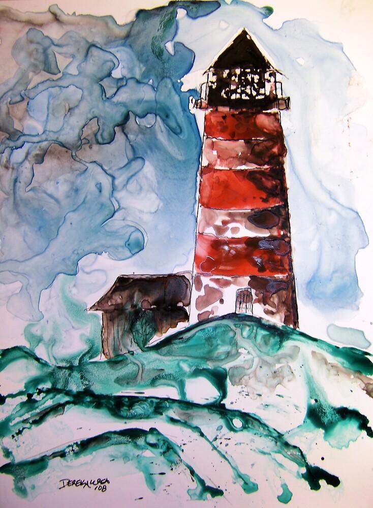 Sapelo Island Lighthouse watercolor on yupo paper by derekmccrea