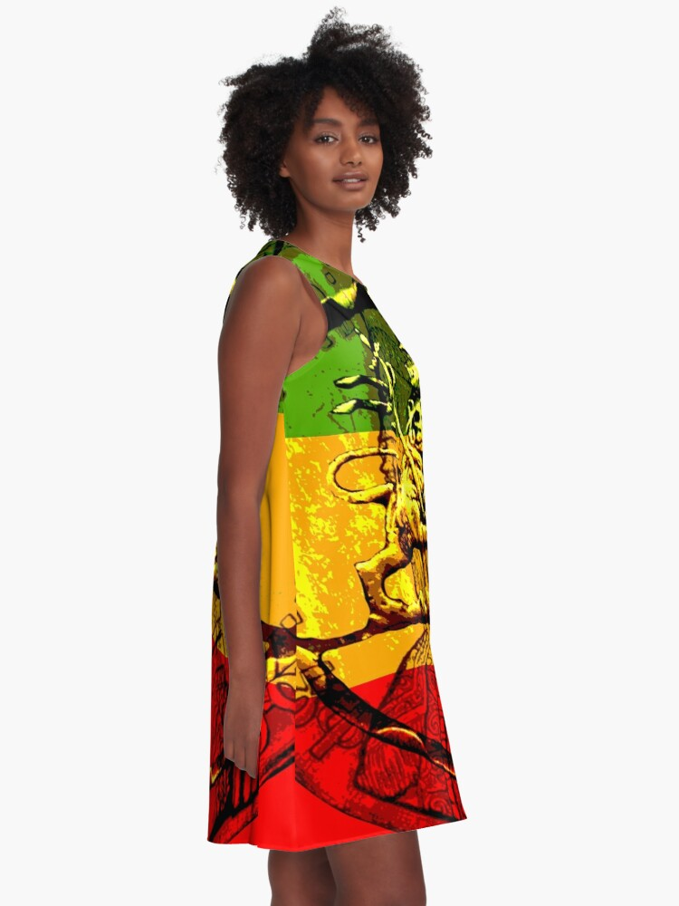 Alternate view of Rasta Lion of Judah A-Line Dress