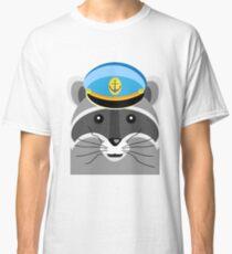 Graphic Cartoon Raccoon Captain Classic T-Shirt