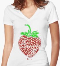 Keinage - Fruit Paradise - Strawberry Women's Fitted V-Neck T-Shirt