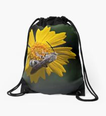 Flower and the Bee Drawstring Bag