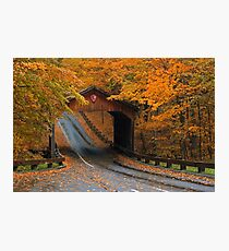 Fall Colors over the Covered Bridge at Sleeping Bear Dunes Photographic Print