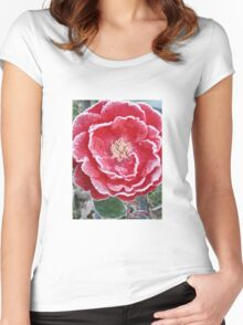 Red Rose - Icy Pedals Women's Fitted Scoop T-Shirt