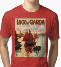 Lago di garda, lake, Italy, vintage travel poster Tri-blend T-Shirt