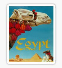 Egypt, camel, Pyramids, Sphinx, vintage travel poster Sticker