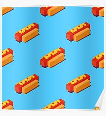 Isometric hot dogs pattern. Poster