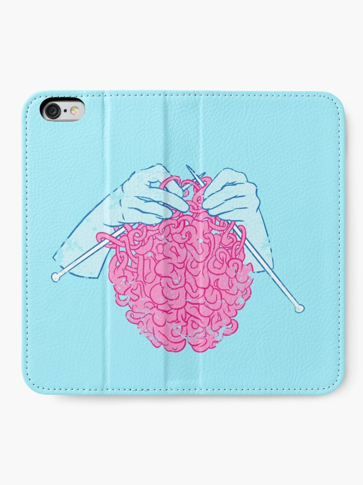 Alternate view of Knitting a brain iPhone Wallet