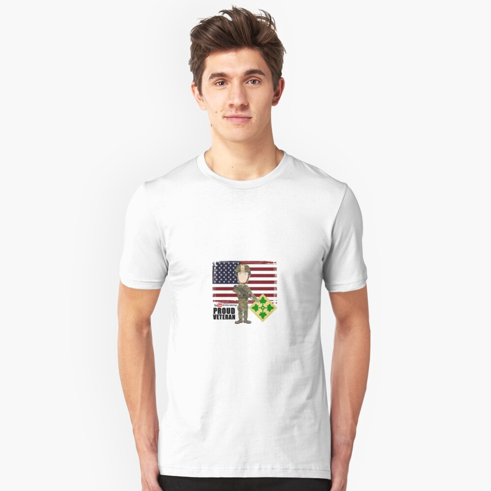 4th Infantry Division - Proud Veteran of OIF / OEF Slim Fit T-Shirt