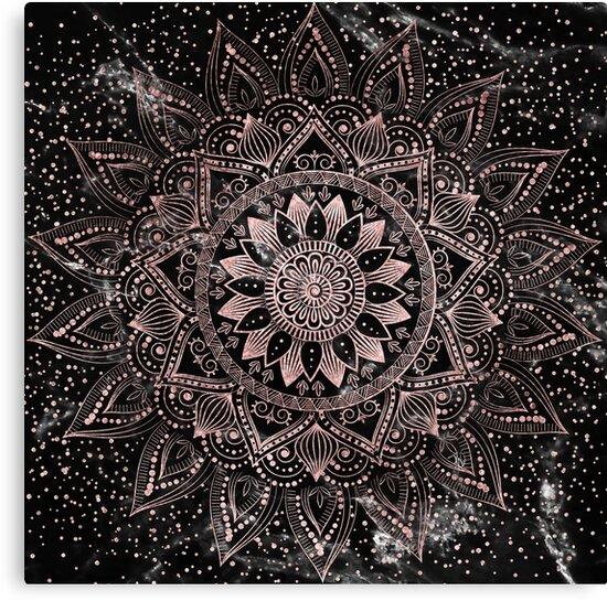 Elegant Rose Gold Mandala Dots And Marble Artwork Canvas Prints By