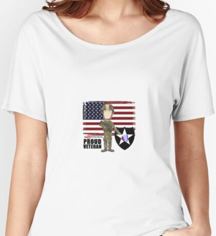 2nd Infantry Division - Proud Veteran Relaxed Fit T-Shirt