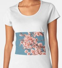 Pink Flowers Blooming Peach Tree at Spring Women's Premium T-Shirt