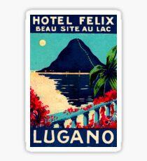 Lugano, Switzerland, hotel, vintage travel poster Sticker