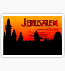 Jerusalem, romantic sunrise, hotel, vintage travel sticker Sticker