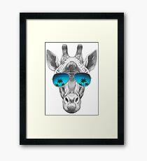 Cool Giraffe In Blue Sunglasses   Framed Print
