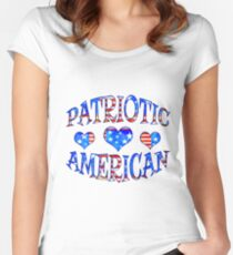 Rustic Patriotic American with Hearts Design Women's Fitted Scoop T-Shirt