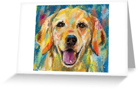 Artistic and colorful painting of golden retriever smiling greeting artistic and colorful painting of golden retriever smiling by ibadishi m4hsunfo