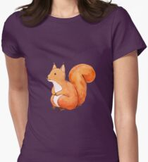 Cute squirrel, hand drawn watercolor illustration Womens Fitted T-Shirt
