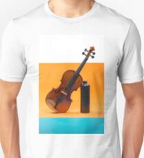 Still-life with a violin, a ball and a dark bottle T-Shirt