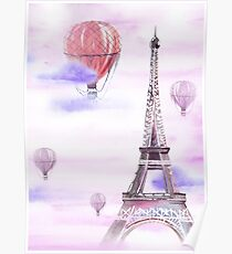 Eiffel Tower and Balloons Poster