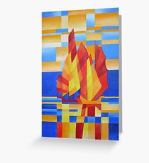 Sailing on the Seven Seas so Blue Cubist Abstract Greeting Card