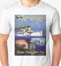 Over sea boat line, cruiser, tourist ship, vintage travel poster T-Shirt