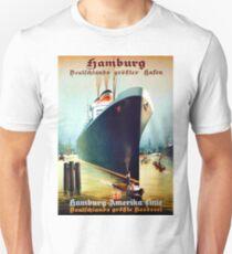 Hamburg - America, oversea line, cruiser, tourist ship, vintage travel poster T-Shirt