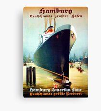 Hamburg - America, oversea line, cruiser, tourist ship, vintage travel poster Canvas Print