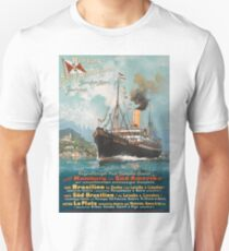 Hamburg - South America, oversea boat line, cruiser, ship, vintage travel poster T-Shirt