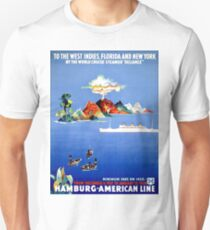 Hamburg - America, cruise line, steam ship, boat, vintage travel poster T-Shirt