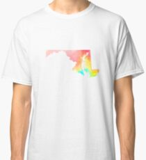 Maryland Watercolor State Outline Classic T-Shirt
