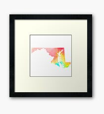 Maryland Watercolor State Outline Framed Print