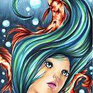 Koi Fish Underwater Ocean Girl Scene by moonphiredesign