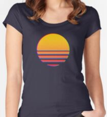 Outrun Retro Sun Women's Fitted Scoop T-Shirt