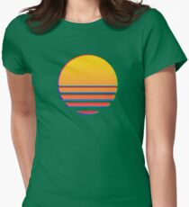 Outrun Retro Sun Womens Fitted T-Shirt
