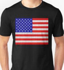 American Flag on Burlap Linen Rustic Jute T-Shirt