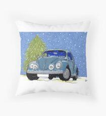 VW Beetle Drawing Christmas Throw Pillow