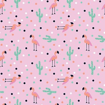 Flamingos and Cactus by doodlebymeg