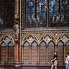 Windows and wall of Upper Chapel, St Chapelle Built by St Louis 1243-8 Paris 19840818 0018  by Fred Mitchell