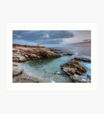 Beavertail Lighthouse at Sunset Art Print