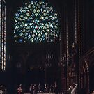 C16 Rose Window of Upper Chapel, St Chapelle Built by St Louis 1243-8 Paris 19840818 0020  by Fred Mitchell