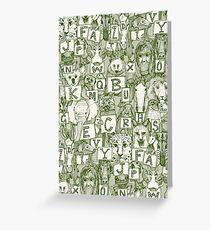 animal abc green ivory Greeting Card