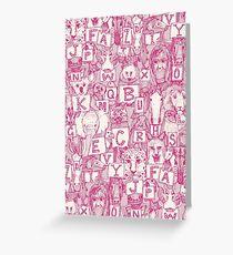 animal abc pink ivory Greeting Card