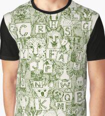 animal abc green ivory Graphic T-Shirt