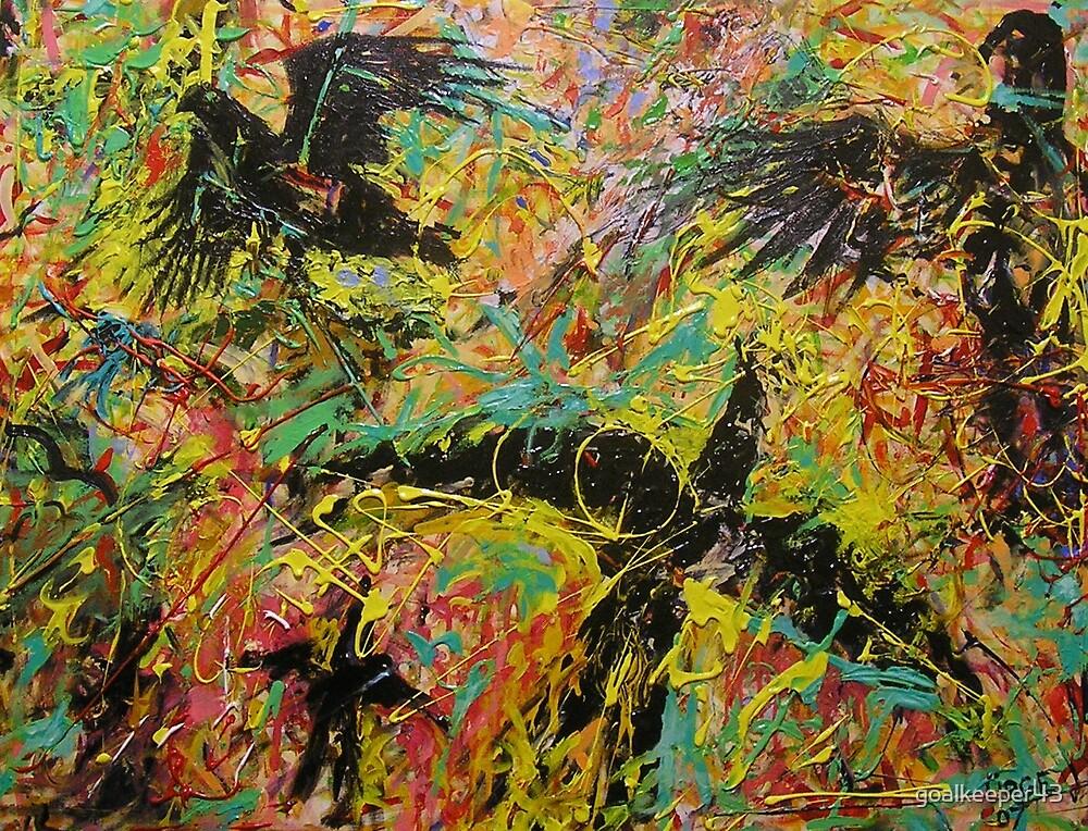 BLACK BIRDS     acrylic painting   90 x 120cm by goalkeeper43