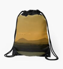 Geese over Derryveagh mountains at Twilight Drawstring Bag