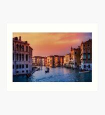 Venice City Canal (Sundown)  Art Print